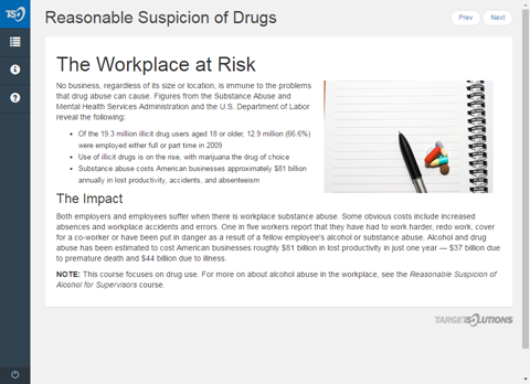 reasonable suspicion of drugs for supervisors